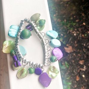Green Blue and Purple Gemstone Bracelet